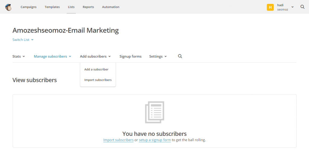 All subscribers of amozeshseomoz Email Marketing   MailChimp