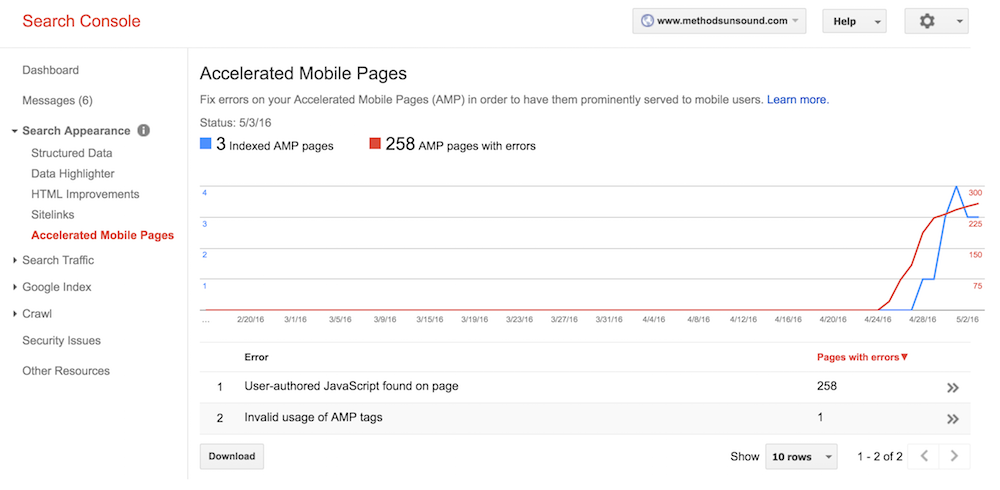 Search-Console-Accelerated-Mobile-Pages-report